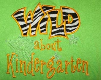 Wild about Kindergarten School Shirt  tshirt Zebra Orange Lime Green