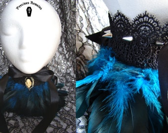 Carrion Eater ~ Gothic Feathered Collar / Black and Blue Feathered Ruff / Bat Skull Pendant Spiked Collar Visual Kei Goth Neo Victorian