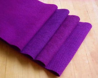 """Hand Dyed Felted Wool, GRAPE, Four 6.5"""" x 16"""" pieces in Regal Purple, Perfect for Rug Hooking, Applique', and Crafts"""