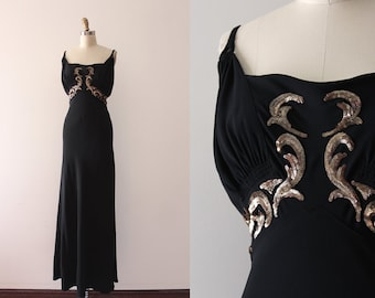 vintage 1930s gown // 30s black evening dress