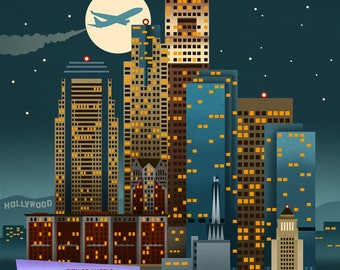Los Angeles, California - Retro Skyline - Lantern Press Artwork (Art Print - Multiple Sizes Available)