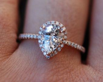 Rose gold ring Pear Sapphire 2.23ct white sapphire diamond ring 14k rose gold. Engagement ring by Eidelprecious
