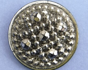 Vintage Glass Button large Silver Art Deco Ornate Vintage Button 385