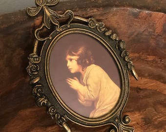 Vintage Framed Print of Little Girl Praying in Ornate Metal Frame | Made in Italy