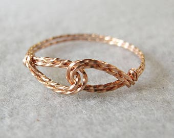 Thumb Ring - Pink Gold Ring - Infinity Design - Interlocked Swirls Rose Gold Twist Wire Ring - Pink Wire - Affordable Ring - Womens Ring