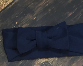 Solid Navy bow turban headband
