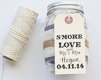 S'MORE Love Favor Stamp for Tags Wedding Favor Tags Shower Favor Vintage Wedding Custom Personalized Calligraphy Stamp