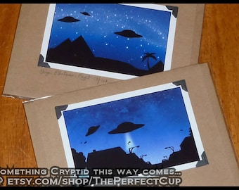 Alien Greeting Card - close encounters UFO flying saucer craft science fiction sci fi ancient astronauts Egypt Egyptian pyramid abduction