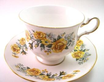 Antique Royal Vale White Tea Cup & Saucer, Yellow roses on white tea cup, English tea cup and saucer set