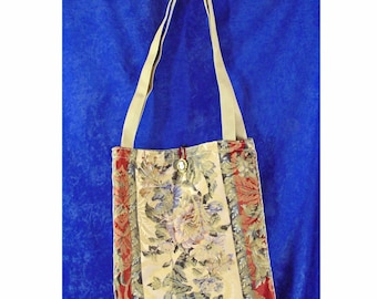 Pretty TOTE Bag Red, Green, and Beige Floral Upholstery Fabric with Beige Nylon Shoulder Straps Cameo Button