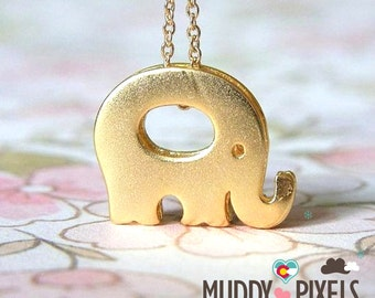 Cute and tiny Lucky Gold Elephant Necklace