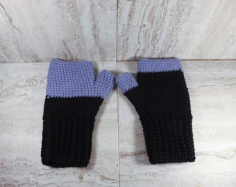 Purple and Black Fingerless Gloves, Winter Mittens, Womens Texting Mitts