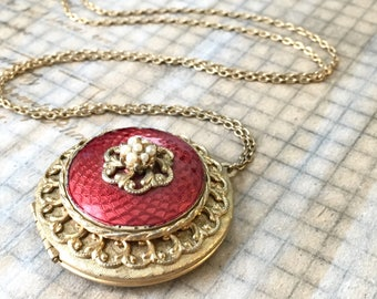 Vintage 1928 LOCKET Necklace | Vintage Red Long Necklace Victorian Revival