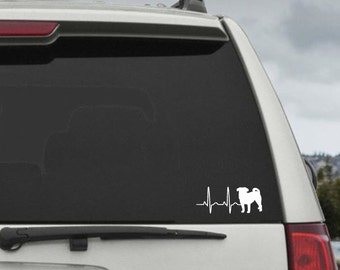 Pug Heartbeat EKG  - Car Window Decal Sticker