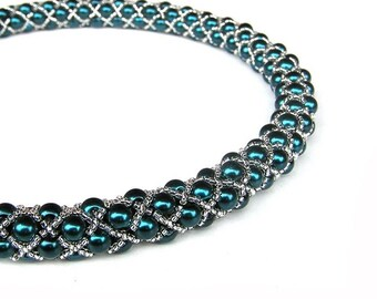 Tubular Netting Necklace / Beadweaving necklace / Turquoise Necklace / Beadwork / Pearls necklace/ Rope Necklace / Luxury necklace