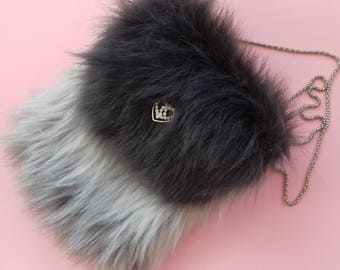 Faux Fur Purse in Dark and Light Gray Color / Birthday's Gift Idea / Wedding accsesories / Chic bag / Easter / Original Gift Idea