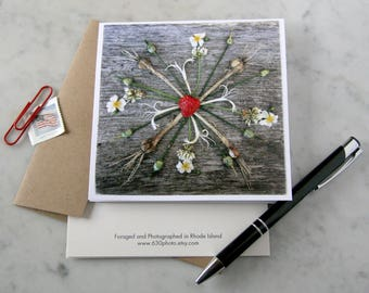Strawberry Moon Mandala ~ One 5x5 Square Note Card (with envelope, blank inside, no message)