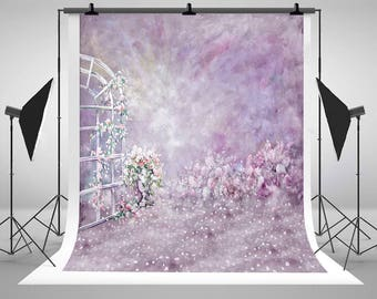Watercolor Purple Lavender Photography Backdrops Pink Flower Windows Photo Backgrounds for Romantic Wedding Studio Props