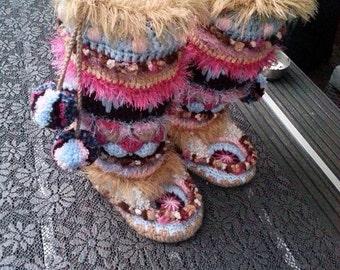 Gehaakte funky sloffen  funky boots (Dutch patroon/pattern)
