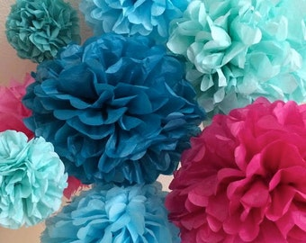 Frozen Party - 12 Tissue Paper Pom Poms  Elsa Anna Olaf Disney Frozen Party Decorations