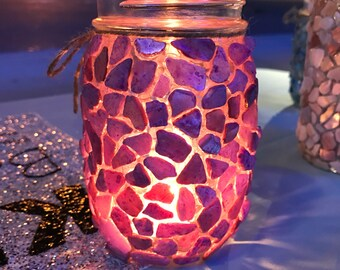 Small purple shell Candle holder