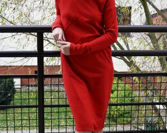 FOG - 100% cotton dress with stitching / midi dress / vintage dress / simple dress / unique dress / red dress / dress with sleeves