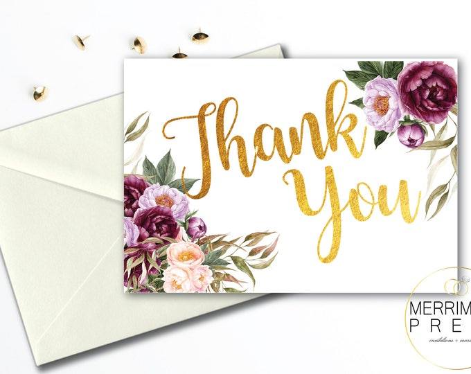 Burgundy Folded Thank You Card // Folded Thank You // Purple // Blush // Greenery // Rustic //  Watercolor // Printed // FLORENCE COLLECTION