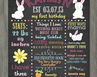 First Birthday Chalkboard Poster, First Birthday Milestone Chalkboard, Printable Chalkboard Poster, Bunnies, Easter Birthday