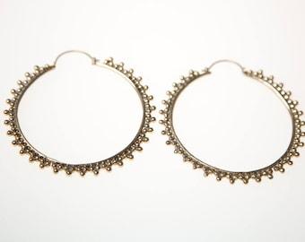 Large Brass Hoop Earrings, Hoop earrings, Boho Earrings, Indian Jewellery, Gold earrings, Gypsy Earrings, Boho Jewellery