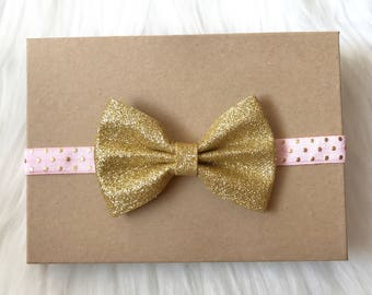 Pink and Gold Headband, Gold Bow Headband, Gold Glitter Bow, Baby Headband, Baby Girl Headband, Infant Headband, Newborn Headband, Headband