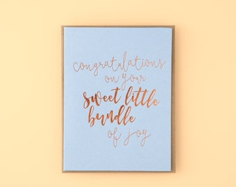 Congratulations On Your Sweet Little Bundle Of Joy Letterpress Greeting Card
