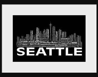 Seattle Skyline Word Art Typography Print Poster Map