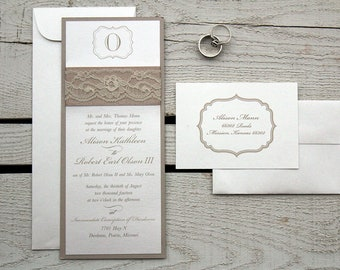 Elegant Romantic Lace Wedding Invitation