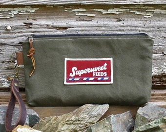 Vintage Military Canvas Clutch | Vintage Supersweet Feeds Patch | Canvas Pouch | Canvas Wristlet