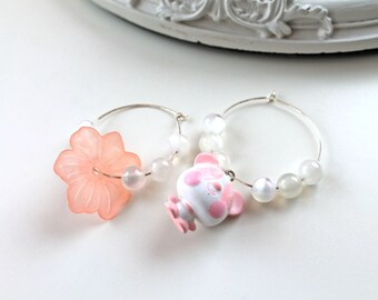 Panda mismatched hoops earrings kawaii pink white fairy kei lolita