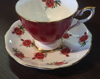 Royal Standard Red Roses tea cup & saucer pattern #3034