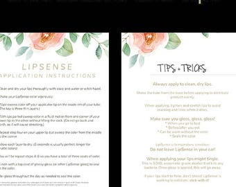 LipSense Printable Instructions and Tips Cards