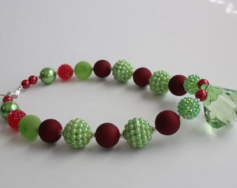 Red and Green chunky Gumball Necklace with green diamond pendant 4086