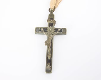 Antique - Coffin Crucifix - 1800's - Silver Washed Brass With Ebony Inlay - Skull and Crossbones - Handmade - Pectoral - Soldiers Cross