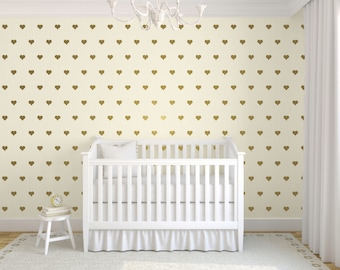 Gold Heart Wall Decals, Heart Wall Stickers, Gold Wall Decals, Heart Stickers, Nursery Wall Decals, Childrens Wall Decals