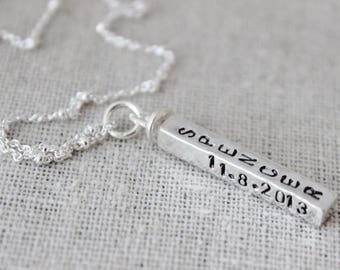4 names necklace, four sided sterling silver swivel pendant, four names, rectangle mothers necklace, grandma necklace