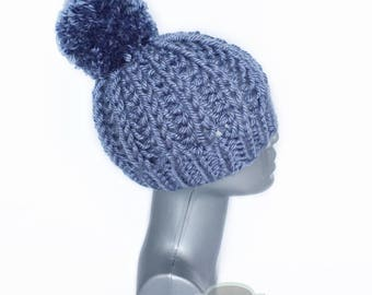 Steel Blue Chunky Beanie with Pom, Gray Blue Ribbed Knit Hat, Dark Blue Winter Beanie with Puff, Blue Knit Toque, Ski Cap