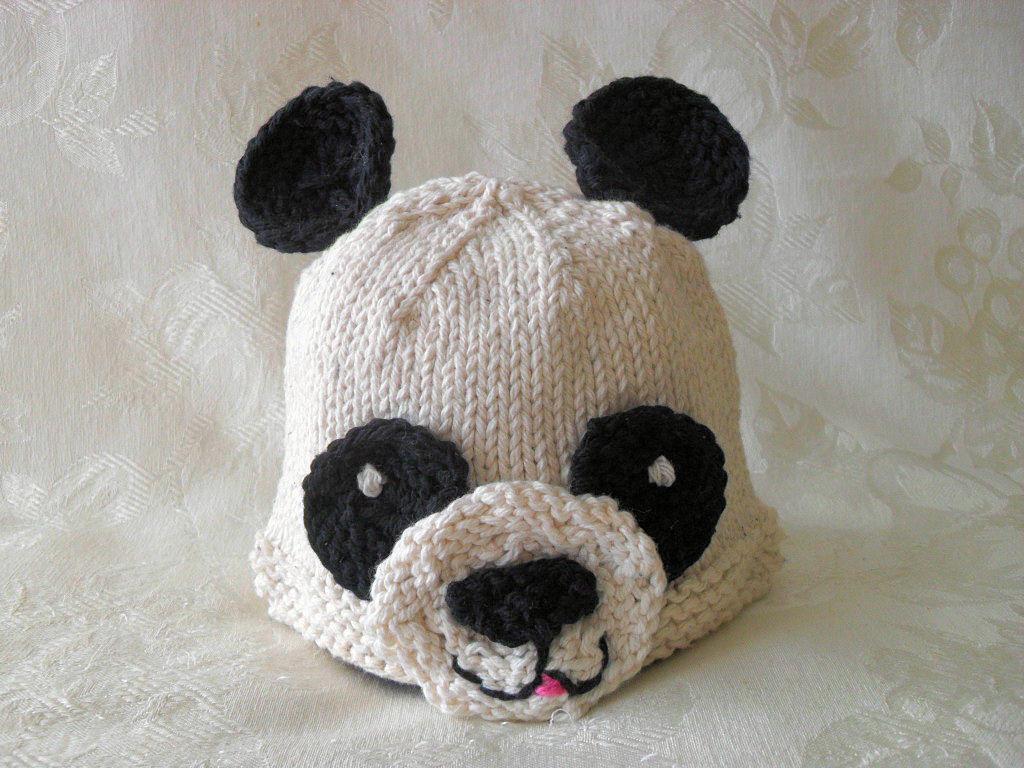 Knitted Hat Pattern Baby Hat Pattern Newborn Hat Pattern Panda Bear ...