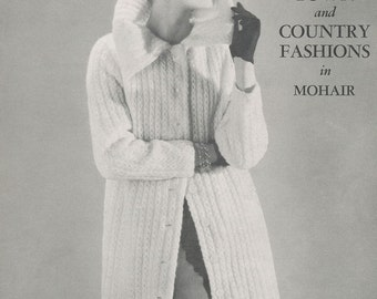 KNITTING PATTERN Vintage 50s Reynolds Long Collared Sweater Coat in Eyelet Cable Instant Download PDF
