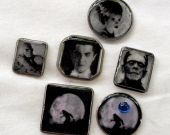 Photo Art Vintage Horror Movie Stars Cabochons Dracula Frankenstein Wolfman Mummy Jewelry Making Bow Center Decoden Phone Cases A2