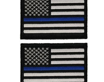 Thin Blue Line American Flag Embroidered Hook and Loop 3x2 Patch - 2 Pack (TBL-TBL-PTC-1)