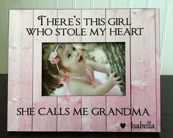 Mother's Day picture frame for mom or Nana // Gift for Grandma // There's this girl who stole my heart she calls me mommy OR Nana