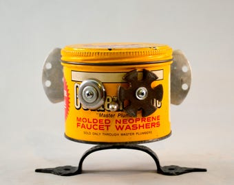 INSECTOR GADGET, Assemblage Art Recycled Robot Sculpture, a Found Object Robot Bug with a Thirst for Justice