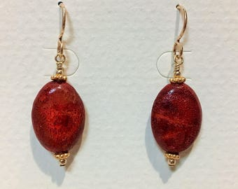 Apple Coral and Gold Beaded Earrings