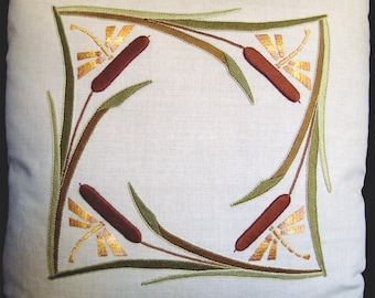 Roycroft Artisan Embroidery Kit for the Cattails and Dragonflies Pillow